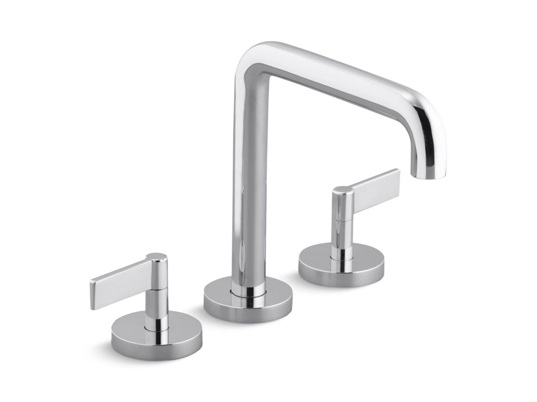 Deck Mount Bath Faucet, Tall Spout, Lever Handles