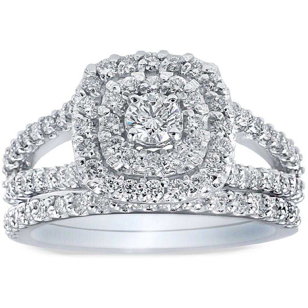 Bliss 10k White Gold 1ct TDW Diamond Halo Wedding Ring SetGH I2