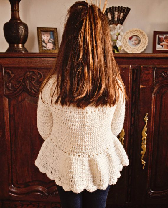 Crochet PATTERN Flower Peplum Sweater sizes baby up to 8 | vestidos ...