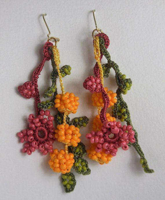 Dangle crochet beaded earrings, earrings with fuchsia flowers and orange berries. A special summer gift for her