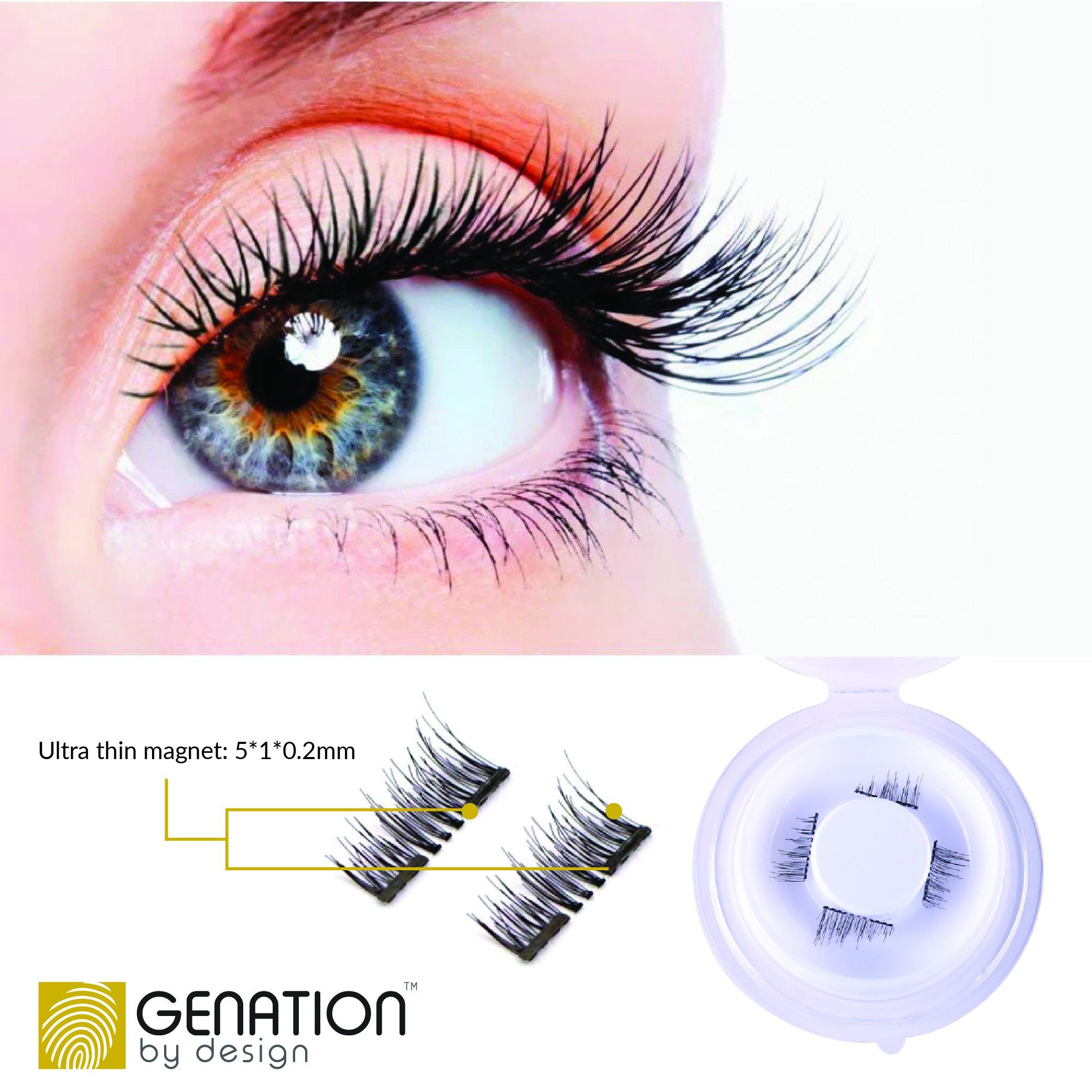 52ffb28cca2 Genation Dual Magnetic False Eyelashes 3D Reusable Best Fake Lashes ?€?  Natural looking Lash Extensions Handmade From Synthetic Flexible Fibers  Dramatic ...