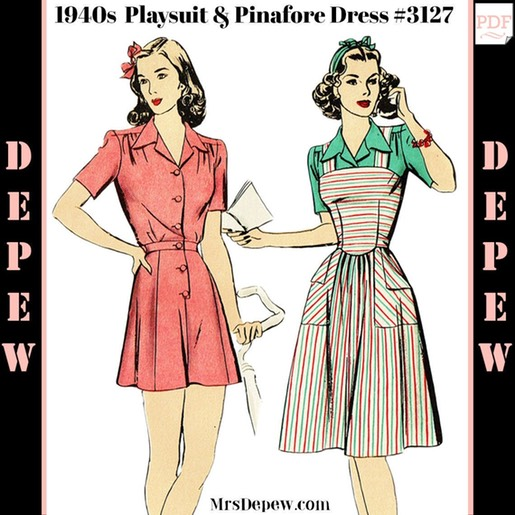 1940s Ladies Playsuit Blouse Shorts And Pinafore Dress 3127 Mrs Depew Vintage Vintage Sewing Patter In 2020 Womens Playsuits Pinafore Dress Dress Making Patterns