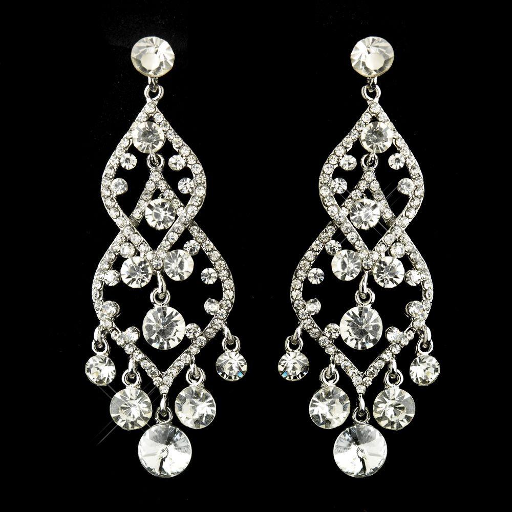Silver Clear Rhinestone Bridal Chandelier Earrings
