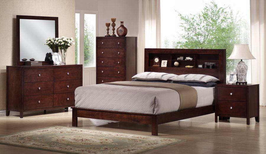 . Montana Mahogany Brown Wood 5 Piece Queen Modern Bedroom Set   Home