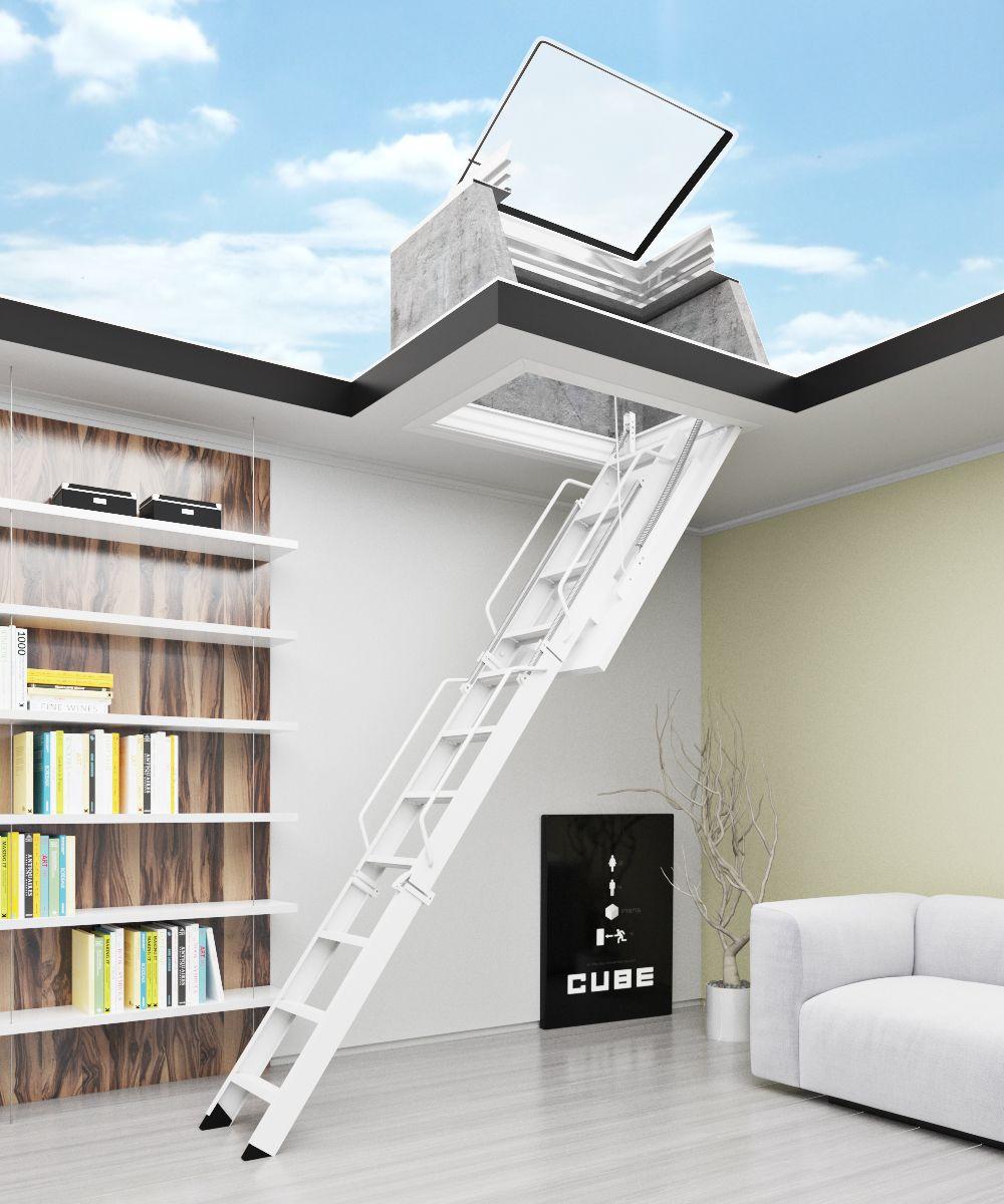 Escaleras plegables de altillo en chapa de acero y madera - Escaleras para altillos ...