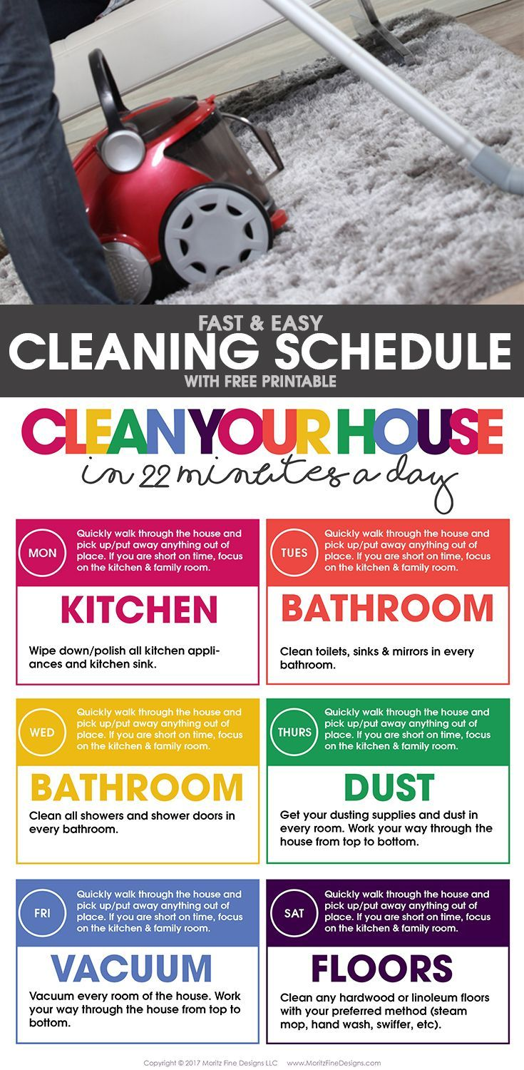 Clean Your House In  Minutes A Day  Free Printable Cleaning