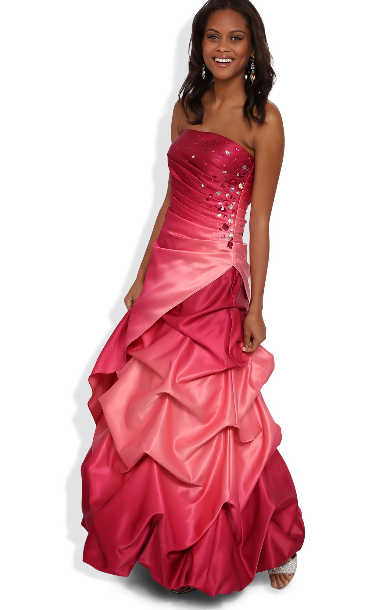 Ombre long homecoming dress with stone ruched sides and pick up
