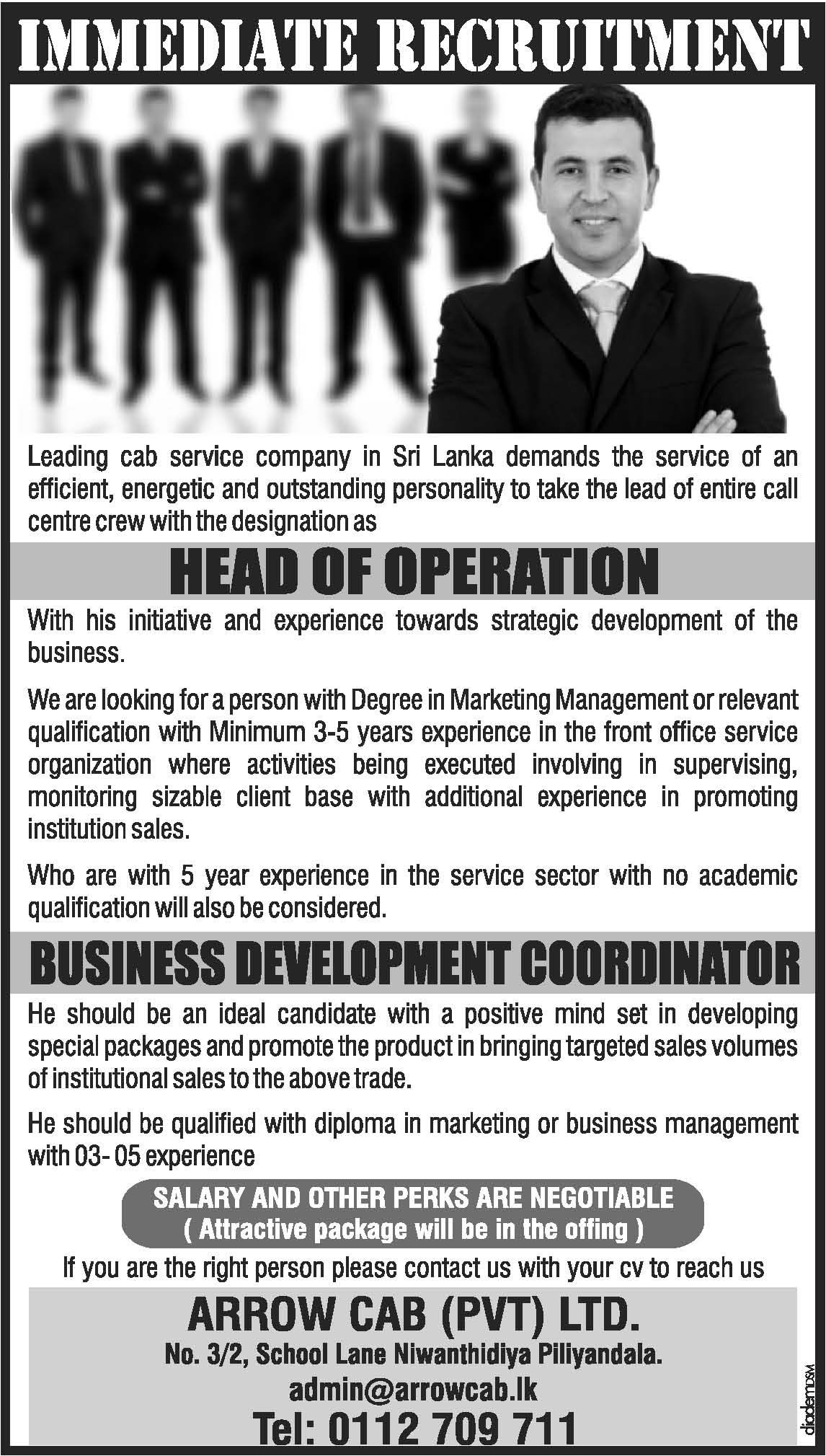 Arrow Cabs Pvt Ltd  Business Development Coordinator  Places