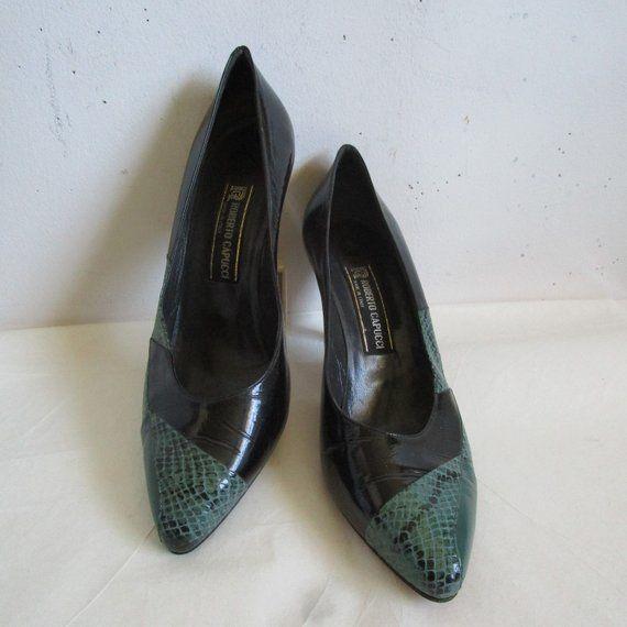 d2e3ece4b0c40 80 Roberto Capucci Two Tone Pumps Leather Black Green Reptile ...