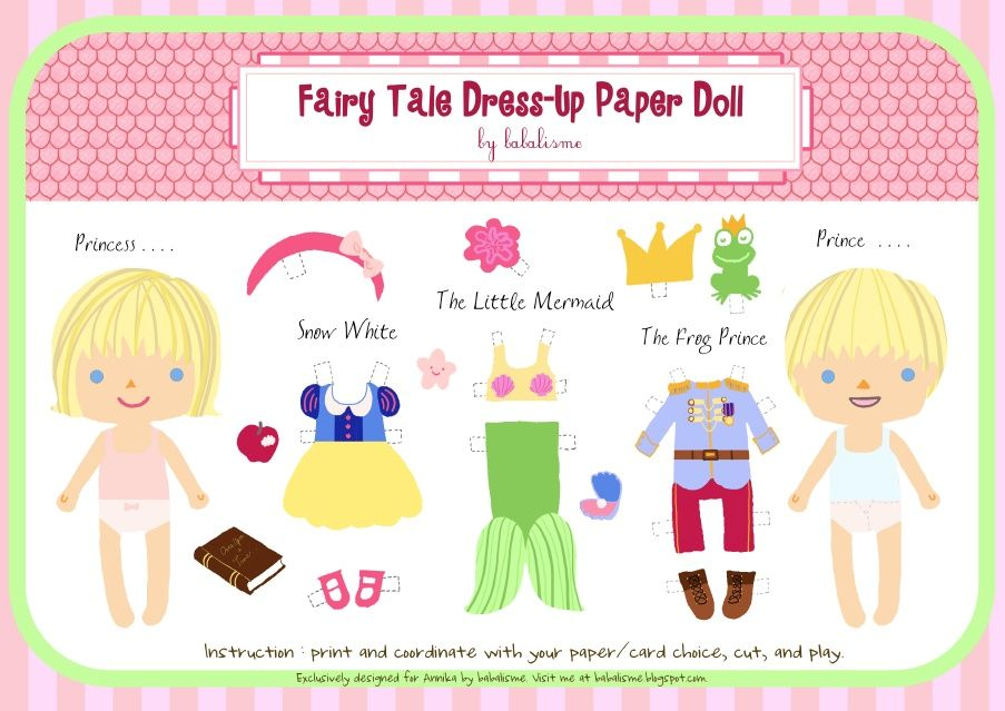 The Fairy Tale Dress-Up Paper Doll is my favorite! | DIY ...