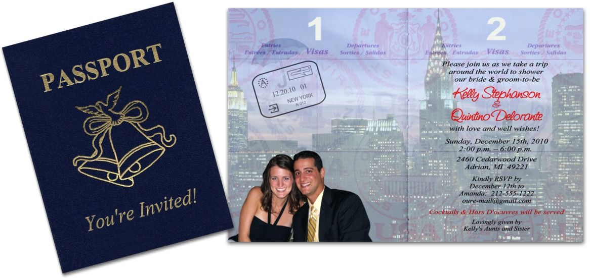 Passport Invitation done in pastel colors that can be used for a ...