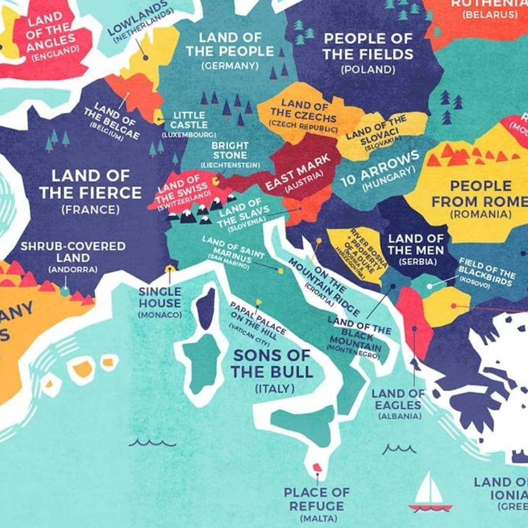 Map Of Spain And United Kingdom.Country Names Translated Literally Part 2 Which One Suprised