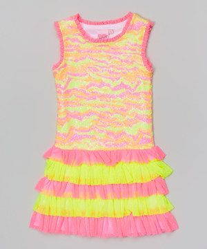 493eea08 Another great find on #zulily! Orange & Pink Camo Sequin Drop-Waist Dress -  Toddler & Girls by Lipstik Girls #zulilyfinds