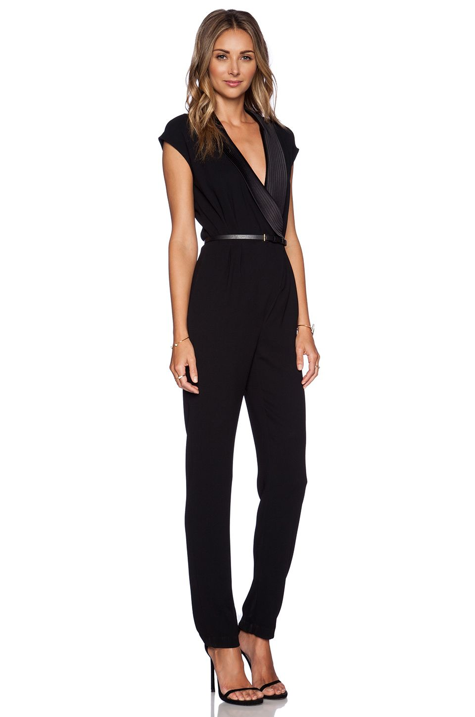 e81daca74fb Halston Heritage Draped Jumpsuit in Black