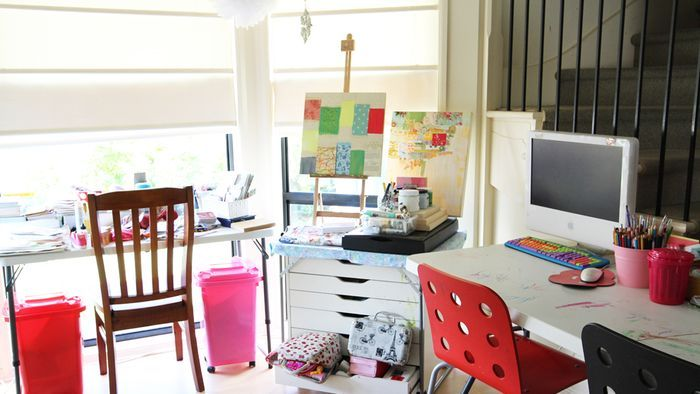 mix and match flea market style office work area