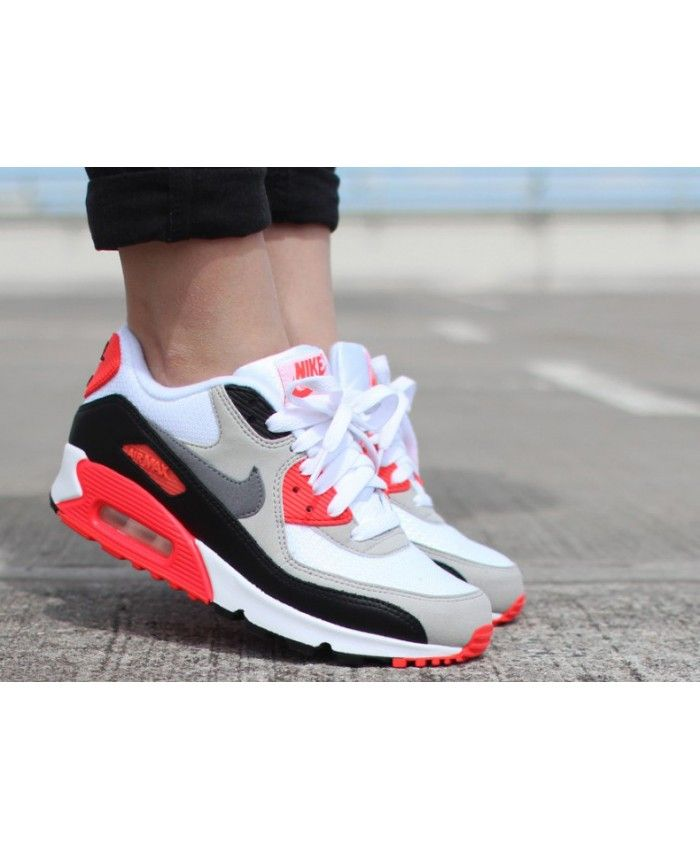 best sneakers b84fd 24ee7 Nike Air Max 90 Femme Ultra Essential Infrarouge Gris Blanc Noir