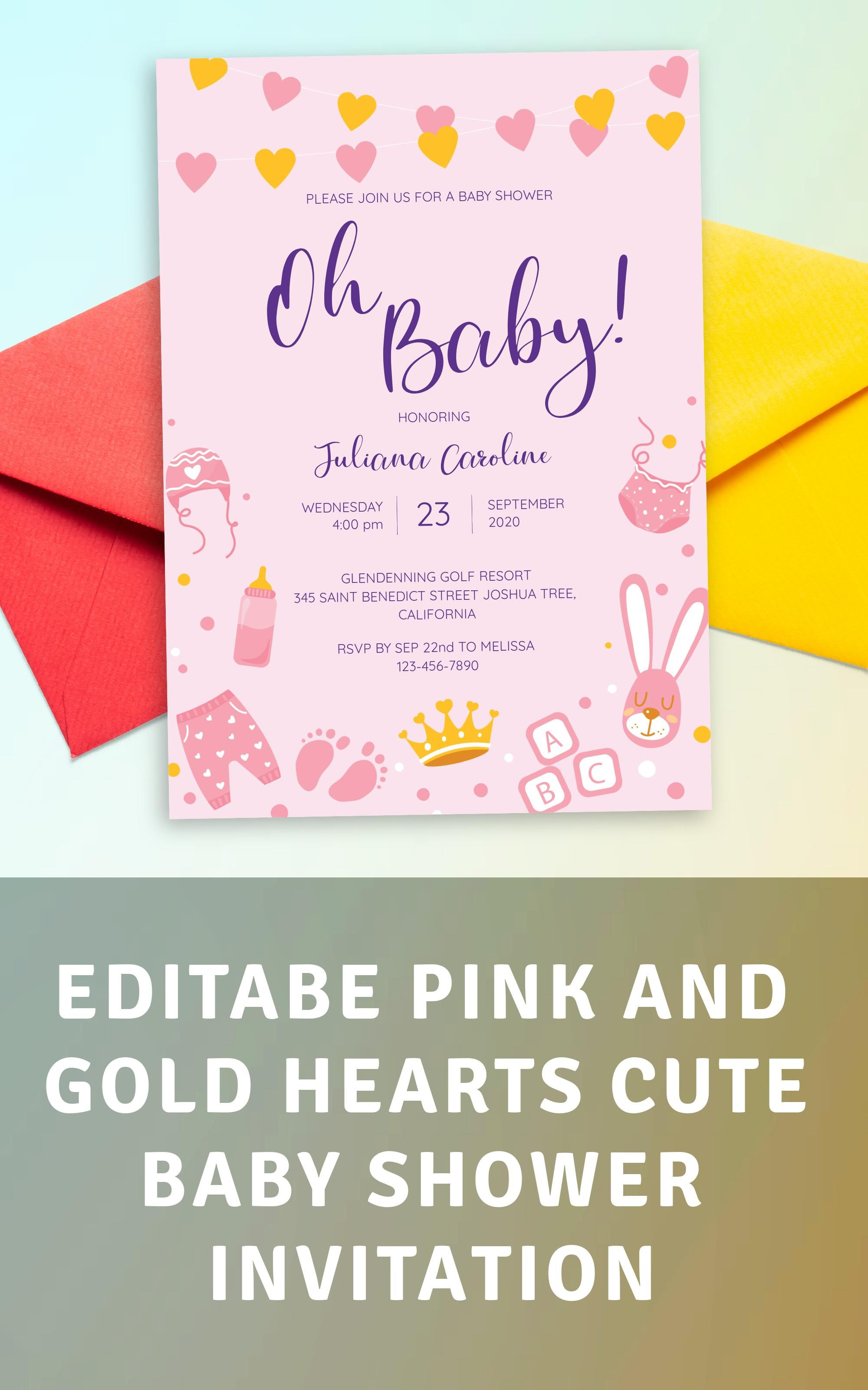 Pink And Gold Hearts Cute Baby Shower Invitation In 2020 Baby Shower Invitations Shower Invitations Invitations