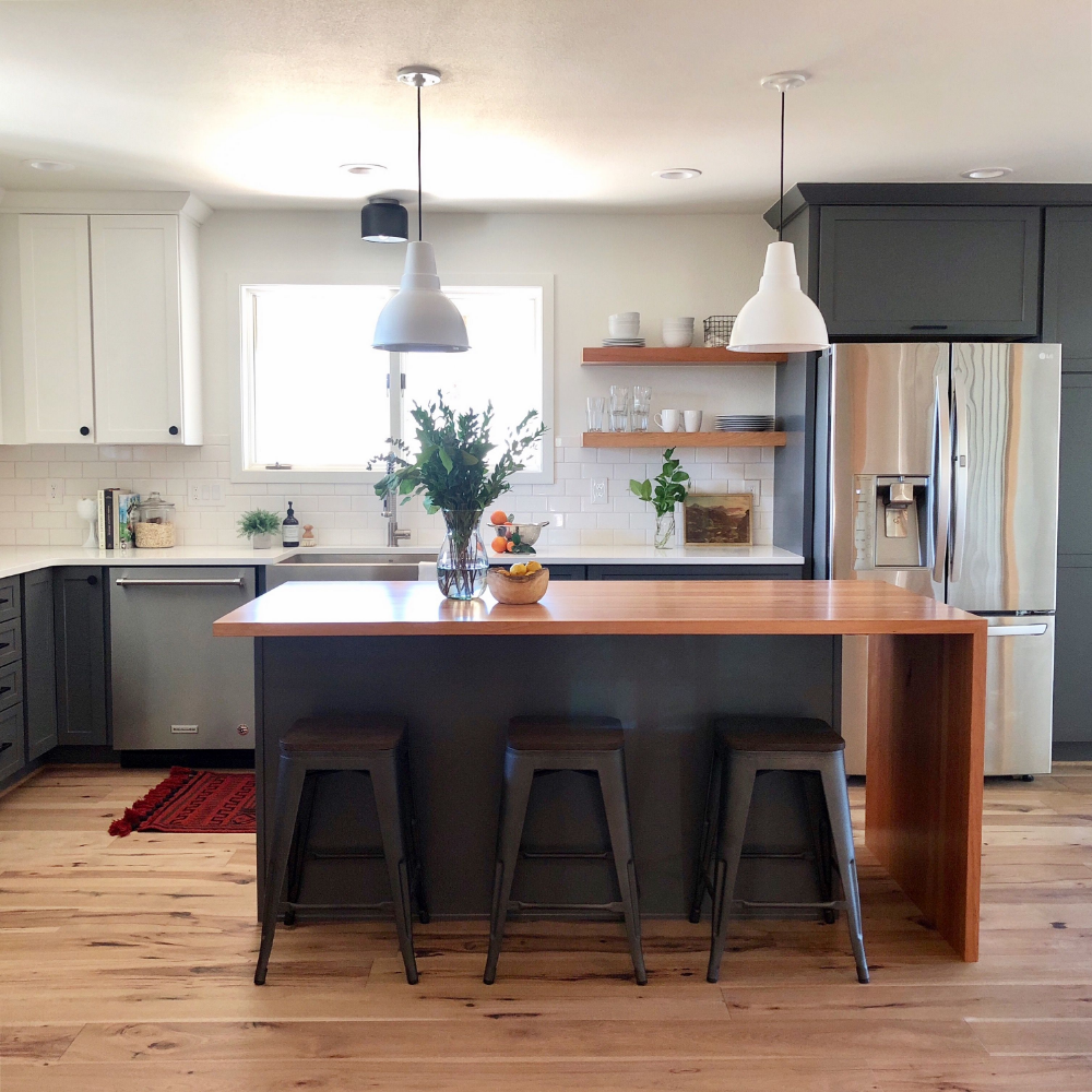 Unique Small Kitchen Island Ideas To Try: Butcher Block Waterfall Island - Google Search