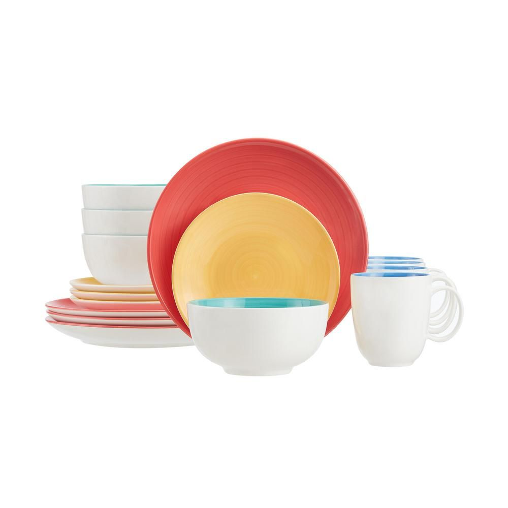 Stylewell 16 Piece Bright Mix Match Stoneware Dinnerware Set Service For 4 Thd0074 The Home Depot Stoneware Dinnerware Sets Stoneware Dinnerware Dinnerware Set