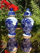 Pair Small Blue & White Porcelain Lidded Urns/Pots