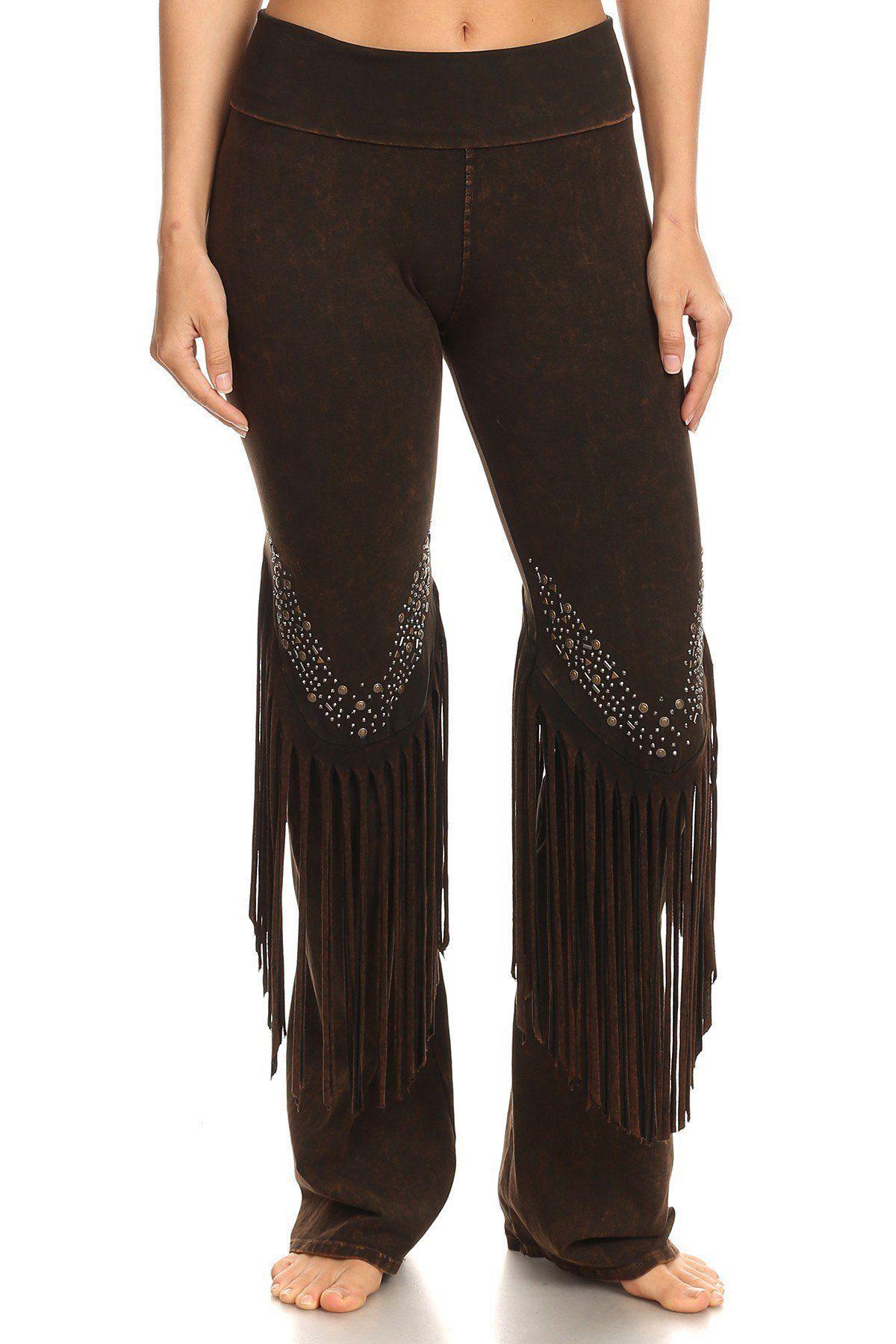 bae896a754 Stone Design Fringe Detail Yoga Pants   Products   Pants, Yoga Pants ...