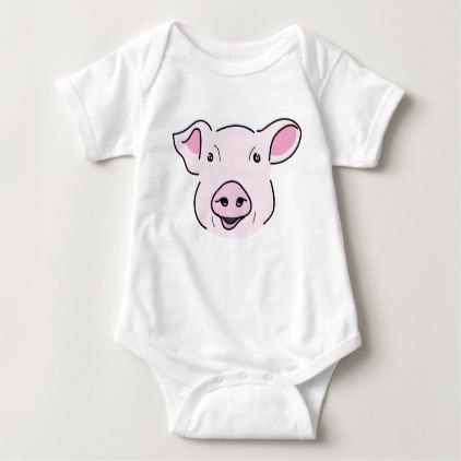 Cute smiling pink pig face illustration baby bodysuit cute smiling pink pig face illustration baby bodysuit animal gift ideas animals and pets diy negle Choice Image