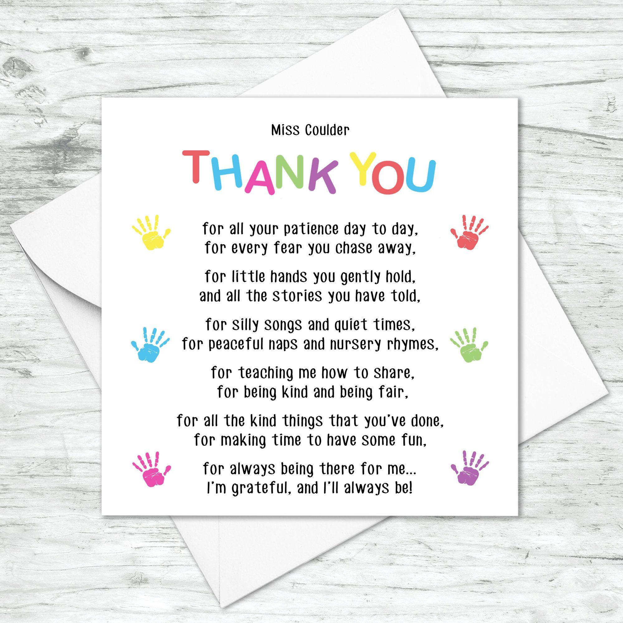 thank you handprint poem personalised card teacher