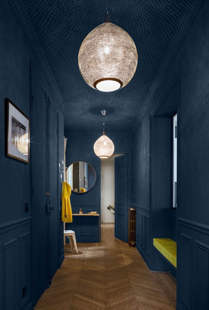 artwork corridor accent wall paint color | Classic with contrasts: beautiful Paris apartment by ...