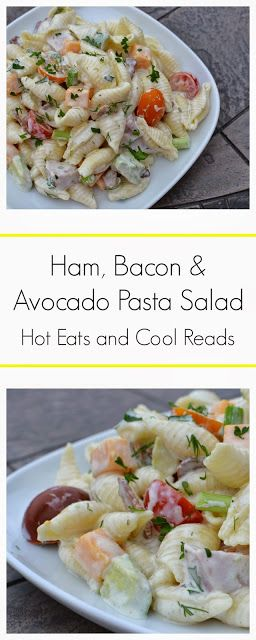 An amazing summertime salad with tons of fabulous ingredients! Perfect for a crowd! Ham, Bacon and Avocado Pasta Salad Recipe from Hot Eats and Cool Reads