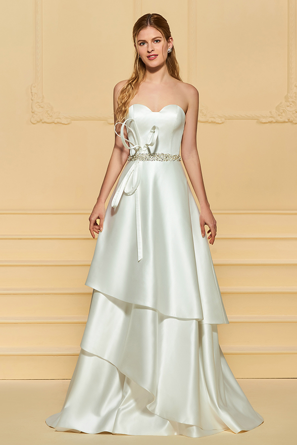 Strapless Beading Tiered Wedding Dress Wedding dresses