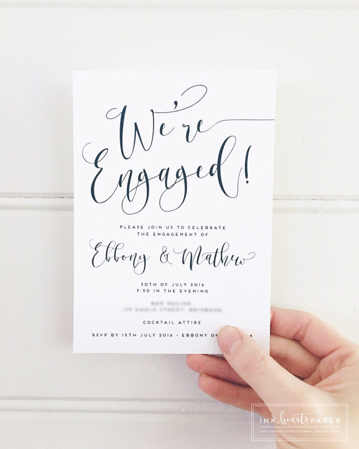 Engagement Invitations Wedding Stationery Black And White Calligraphy Modern Simple Professional Cly