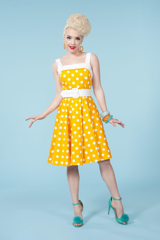 cb31887cc0 Golightly Netti Dress in Yellow Dots