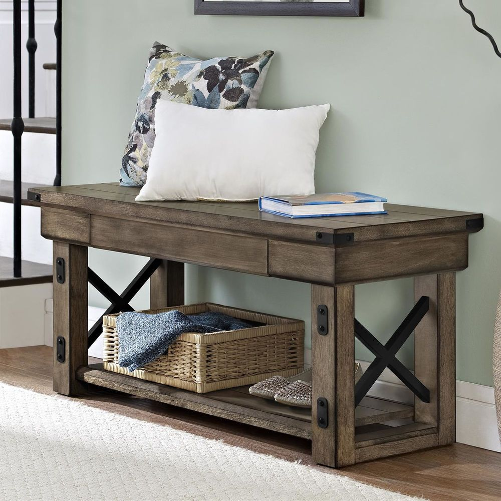 Hallway storage with hooks  Entryway Storage Bench Rustic Hallway Living Room Bedroom Seat Home