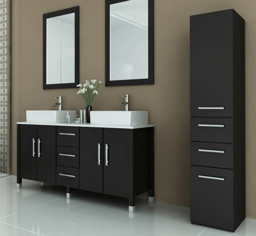 59 Inch Double Vessel Sink Bathroom Vanity Espresso Finish
