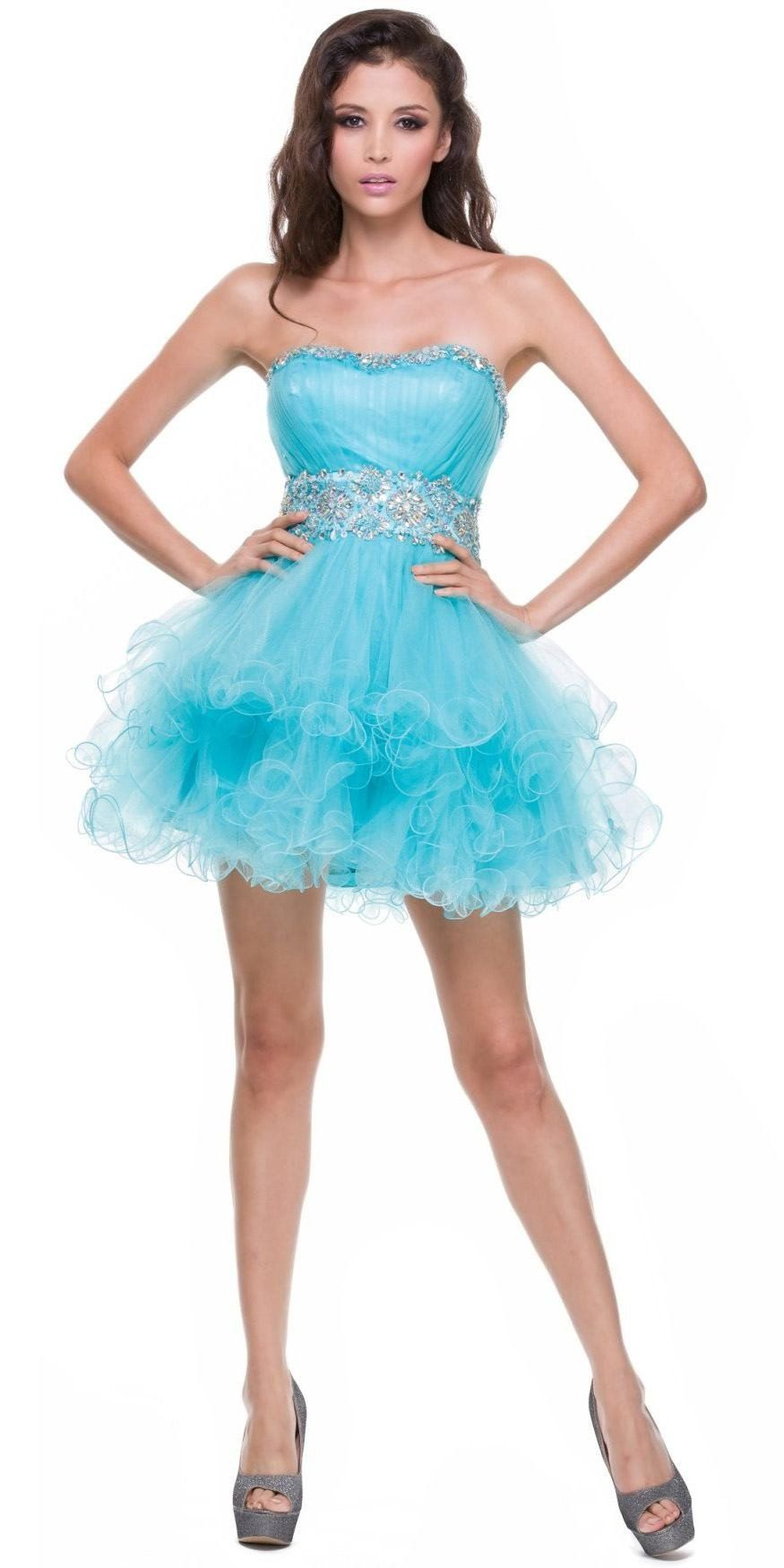 Strapless Sweetheart Silver Formal Dress Short Sequin Neckline Poofy ...