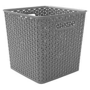 11 Y Weave Bin Gray Room Essentials Room Essentials Cube Storage Bins Organizing Linens