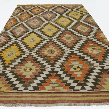 K0020024 Vintage Afyon Kilim Rug | Kilim Rugs, Overdyed Vintage Rugs, Hand-made Turkish Rugs, Patchwork Carpets by Kilim.com