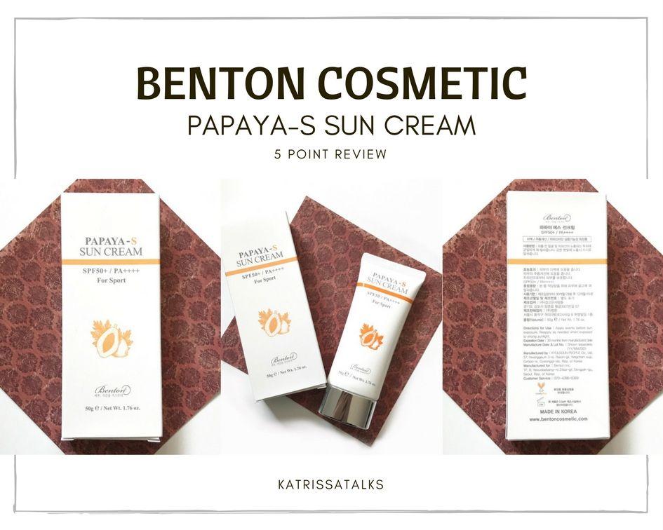 Benton Cosmetic Papaya S Suncream 5 Point Review Sun Cream Beauty Recipe Health And Beauty
