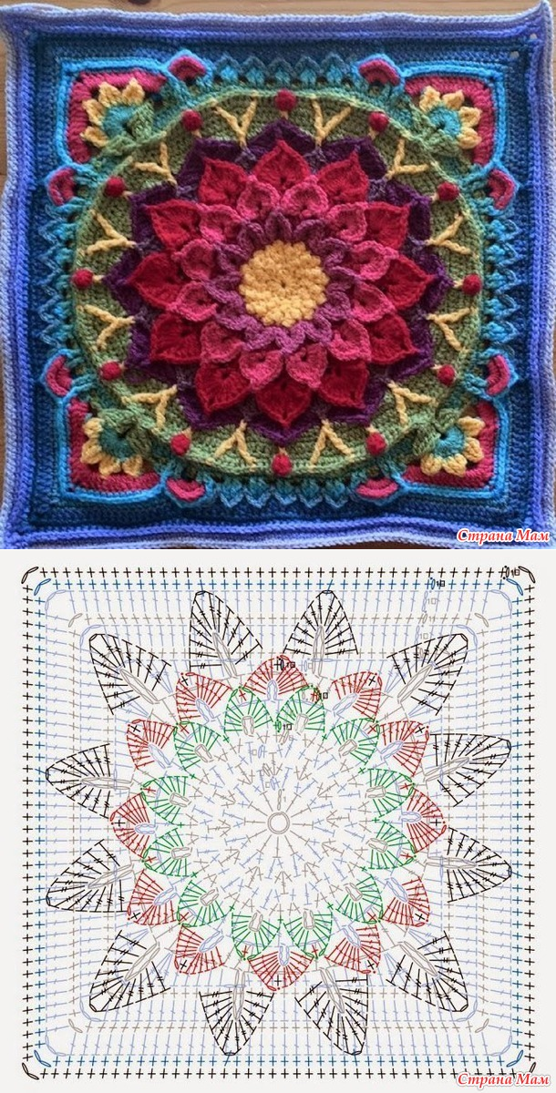 коврики-пледы МАК   Pinterest   Mandalas, Tejido y Ganchillo