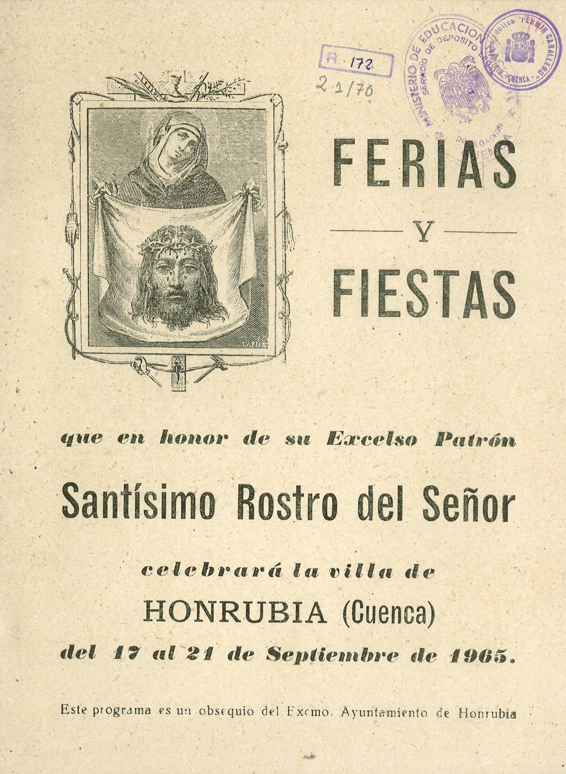 Fiestas en Honrubia (Cuenca) del 17 al 21 de septiembre de 1965 Procesión con la imagen del Santo Rostro desde su Ermita #Fiestaspopulares #Honrubia #Cuenca