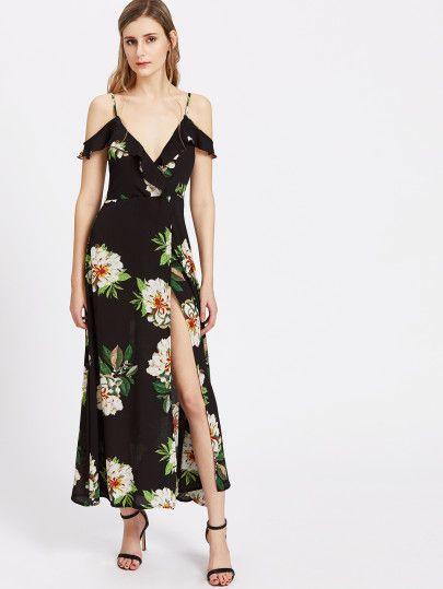 Vestido cruzado con hombros al descubierto con estampado de flor y espalda  con cordón 566233626e6f