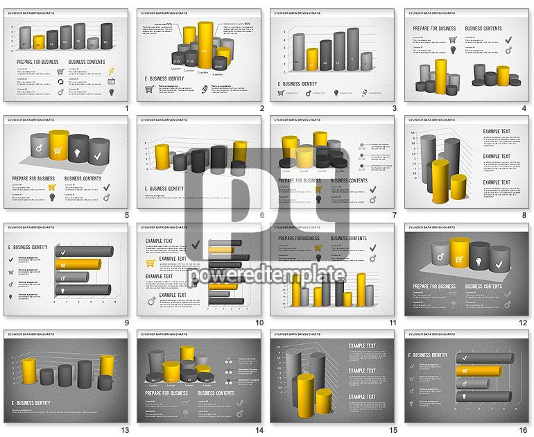 Cylinder Bar Chart  Powerpoint Charts And Diagrams