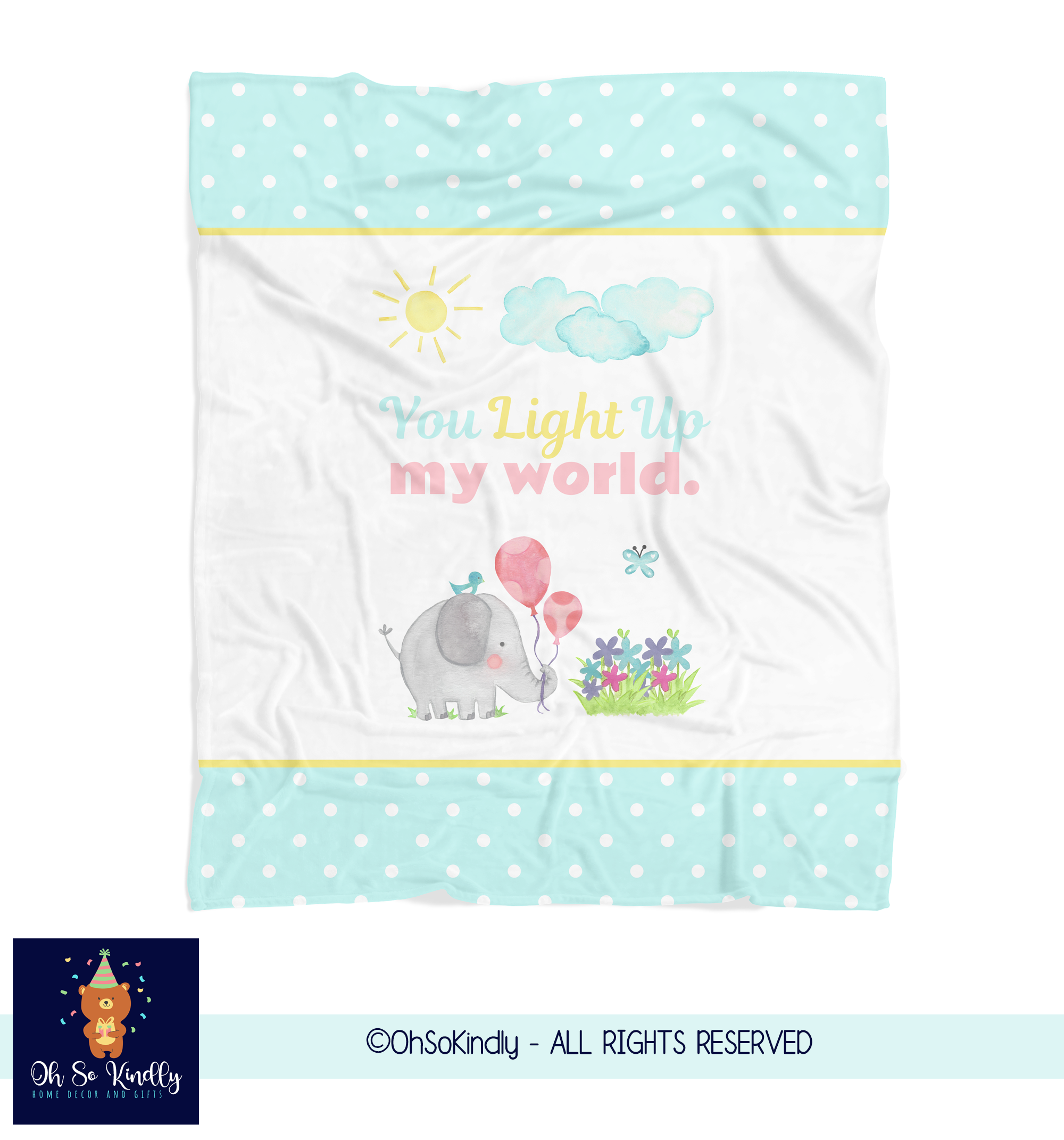 You Light Up My World Elephant Fleece Blanket For Children - Sherpa / 50x60 inches
