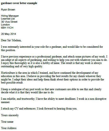 letter application gardener cover example icover Home Design - what should a cover letter contain