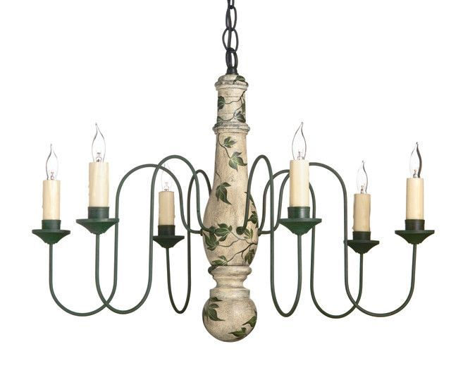 Ivy And Vine 6 Arm Wooden Chandelier By Country Traditions