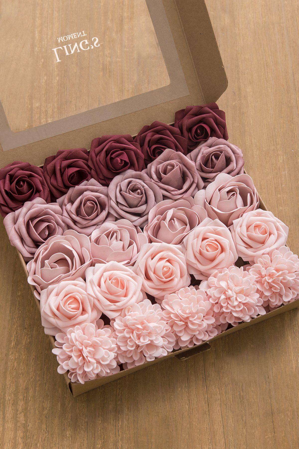 Artificial Flowers 10 Delicious Cream Foam Roses