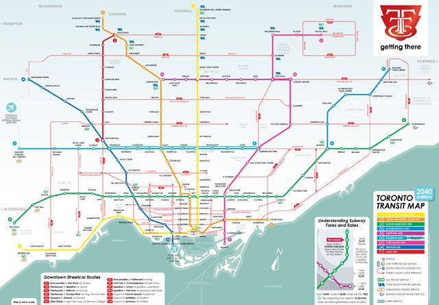 Toronto Bus And Subway Map.What A Transit City Could Look Like In 2040 Bus Route Maps