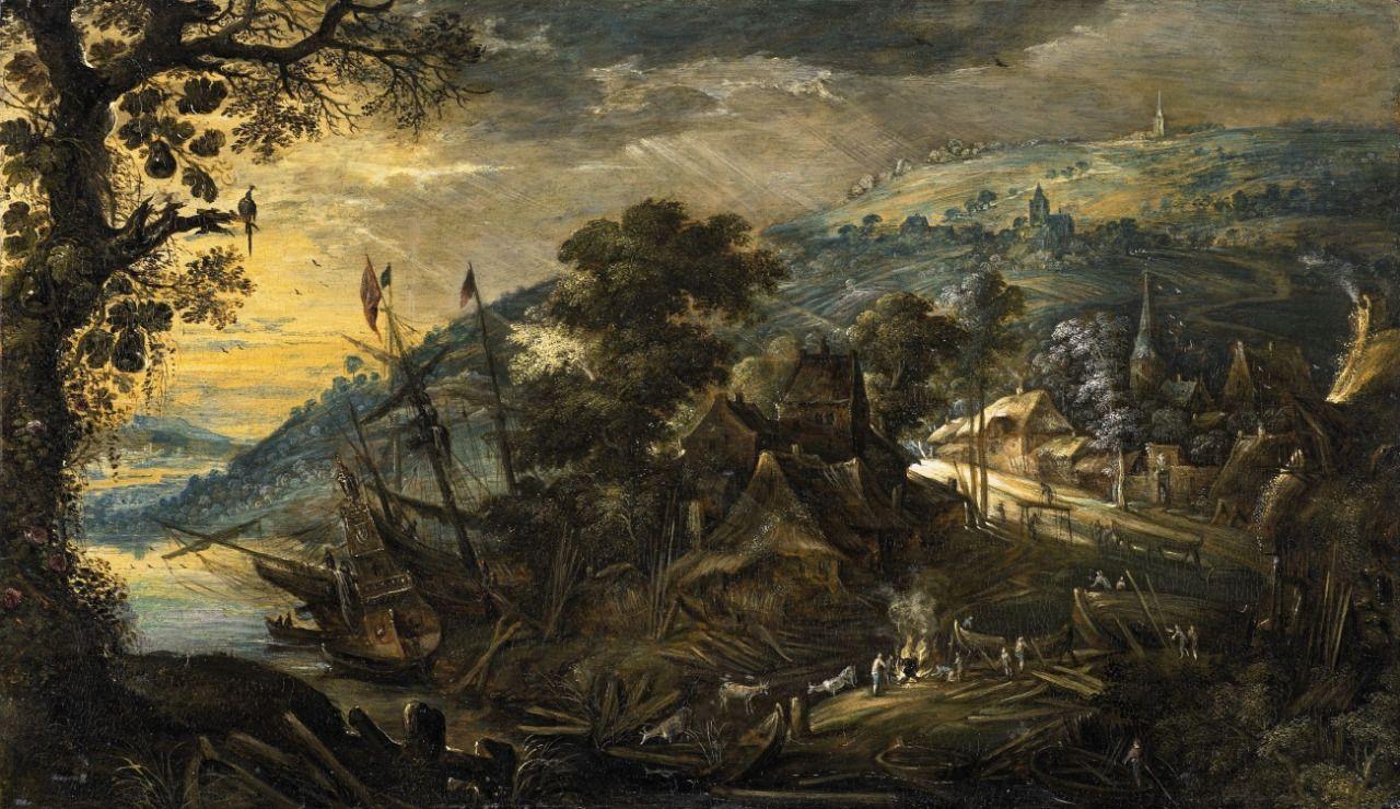 Landschaft mit Schiffswerft by Kerstiaen de Keuninck