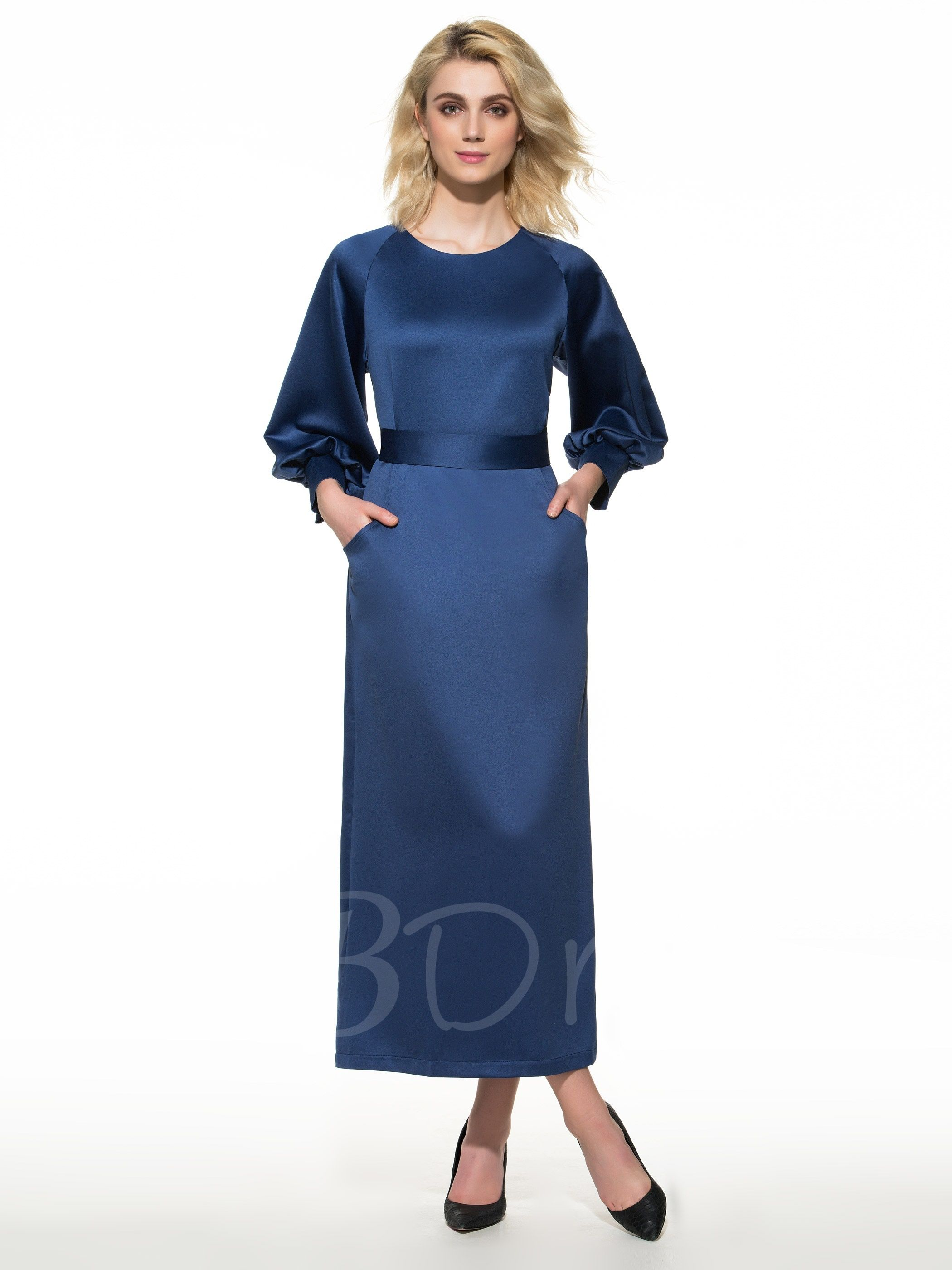 Plain Puff Sleeve Split Women S Maxi Dress Womens Maxi Dresses Dresses Maxi Dress [ 2800 x 2100 Pixel ]