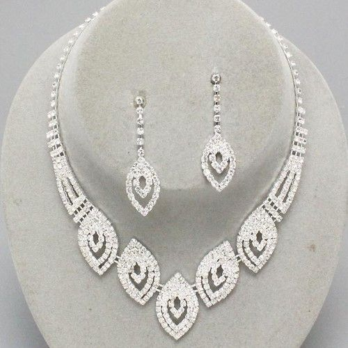Wedding Prom Bridal Evening Clear Crystal Elegant Costume Jewelry